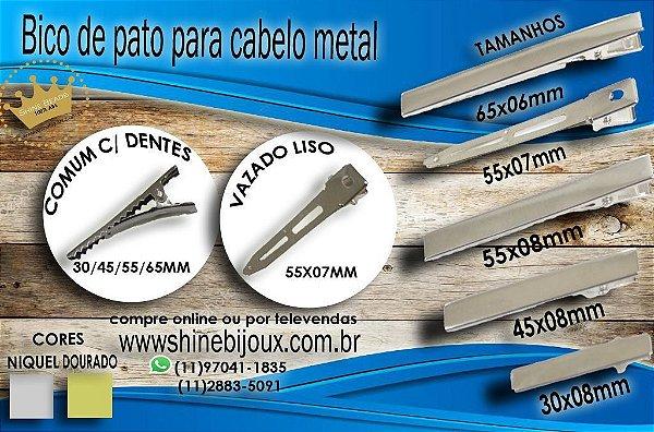 Bico de Pato Quadrado para Cabelos 75mm (7.5cm)  Níquel Shine Beads®