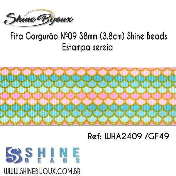 Fita gorgurão Chinezinha estampa sereia escama Shine Beads Nº9  38mm (3.8cm)