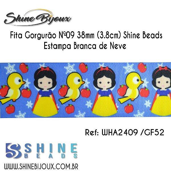 Fita gorgurão Chinezinha estampa Branca de Neve  Shine Beads Nº9  38mm (3.8cm)