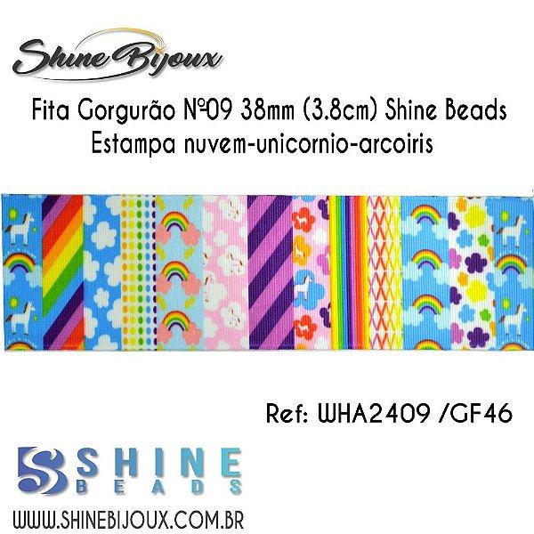 Fita gorgurão Chinezinha  Nuvem-unicornio-arcoiris  Shine Beads Nº9  38mm (3.8cm)