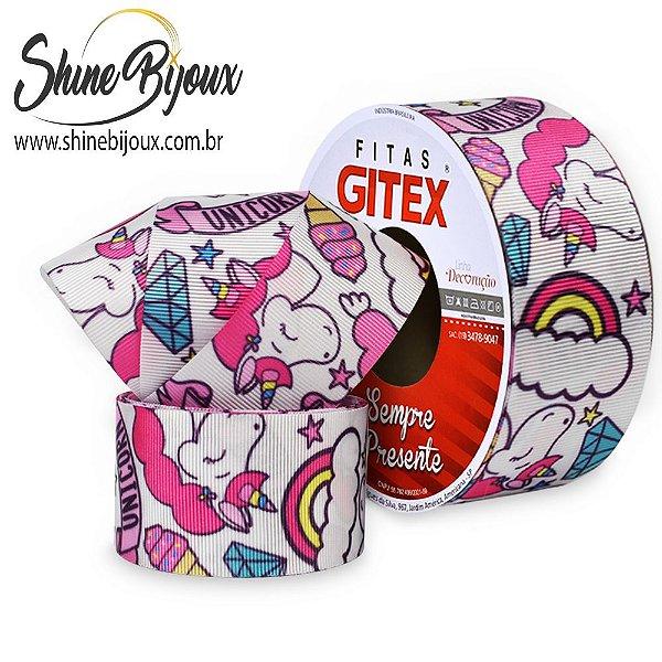 Fita gorgurão estampa unicórnio nuvem diamante  Gitex® Nº 09 (38MM)