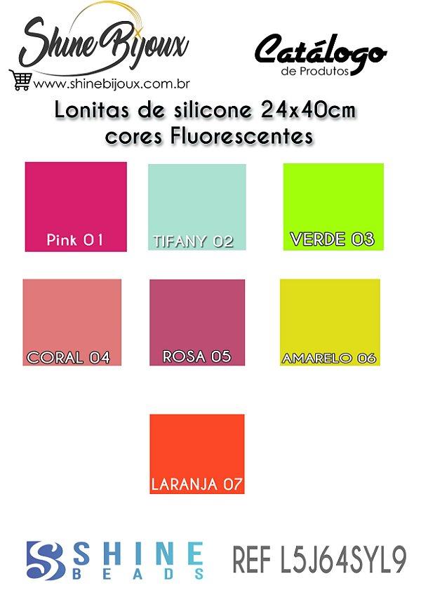 Lonita de silicone fluorescente Neon  para laços piscina 24x40 cm columbia cores