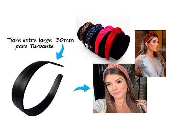 Tiara para turbantes extra larga 30mm preta