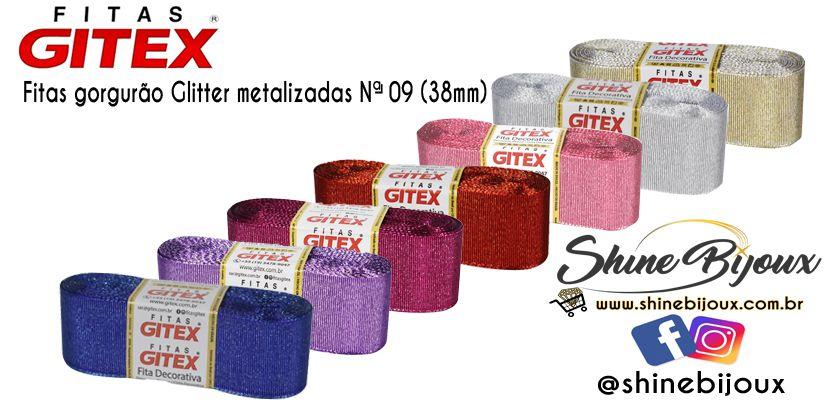 Fita lurex Gorgurão Glitter metalizada Gitex  Nº 09 ( 38mm)