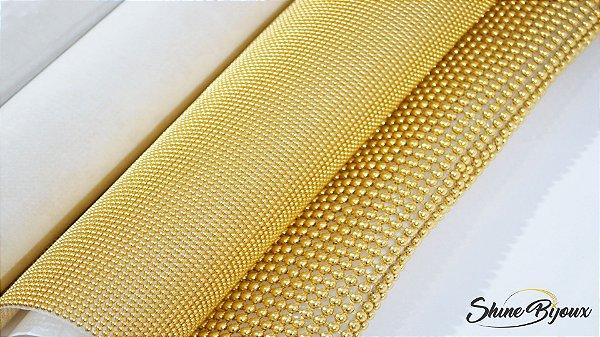 Manta de meia perola em alumínio dourado 6 e 3mm 1,50x50cm