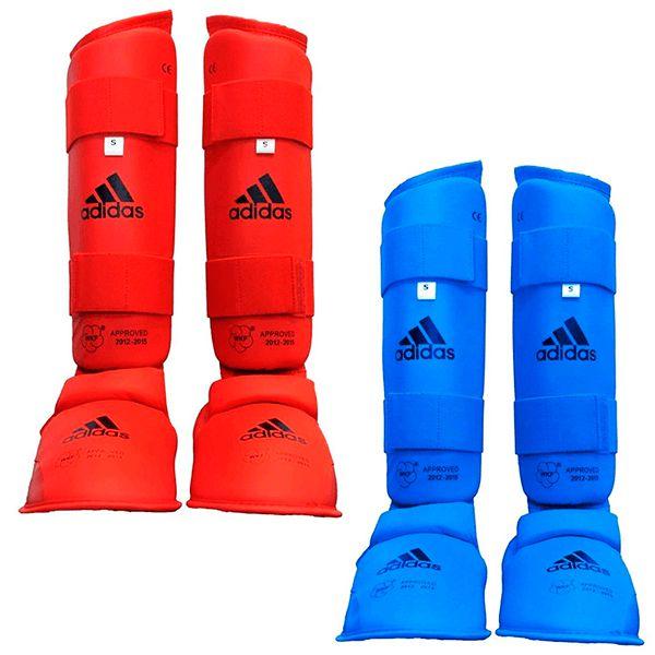 Kit Protetor de Canela Adidas Karate WKF Azul e Vermelho