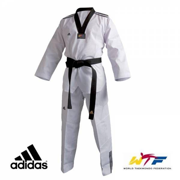 Dobok Kimono Taekwondo Adidas AdiClub 3S Gola Preta