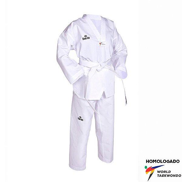Dobok Kimono Taekwondo Daedo FIT Adulto Gola Branca