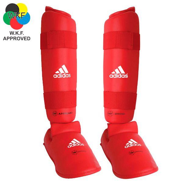 Protetor de Canela e Peito Pé Adidas Vermelho WKF
