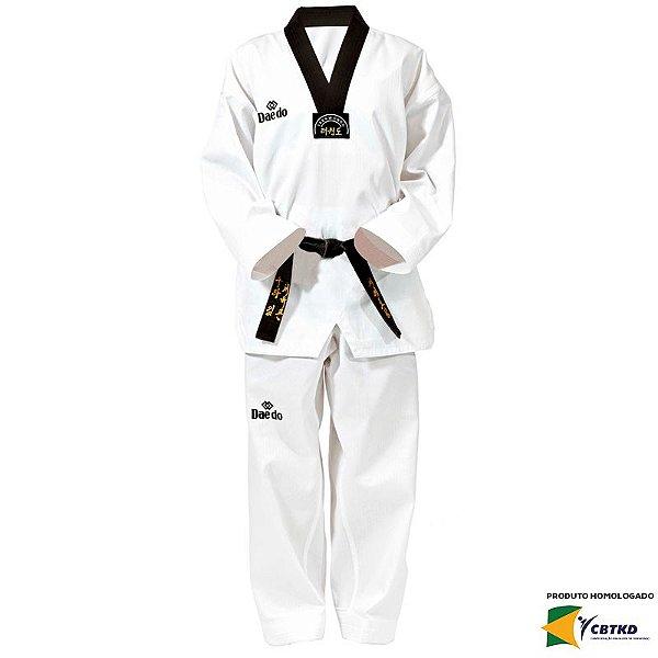 Dobok Kimono Taekwondo Daedo Elite Gola Preta Homologado CBTKD