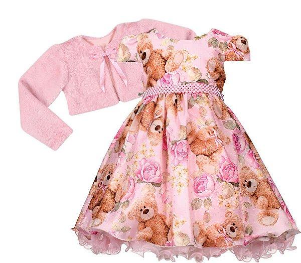 Vestido infantil Estampa de Urso com casaco de pelo