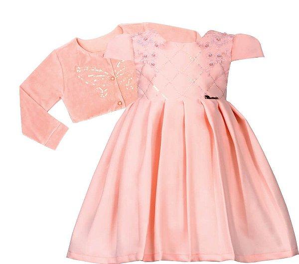 Vestido Infantil Casual de Pregas com bolero de plus bordado