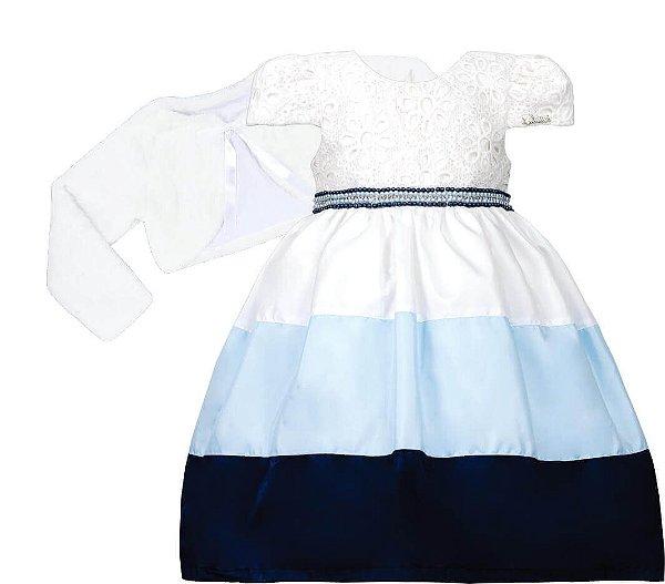 Vestido Infantil Casual com Saia Bicolor Azul com bolero de pelo