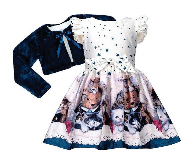 Vestido Infantil com Barrado de Urso com bolero de pelo