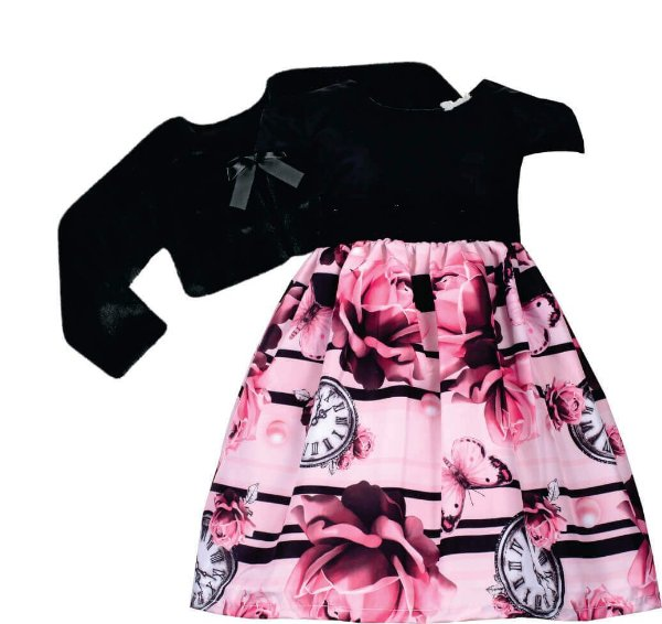 Vestido Infantil Peito Preto e Saia Estampada com bolero de pelo