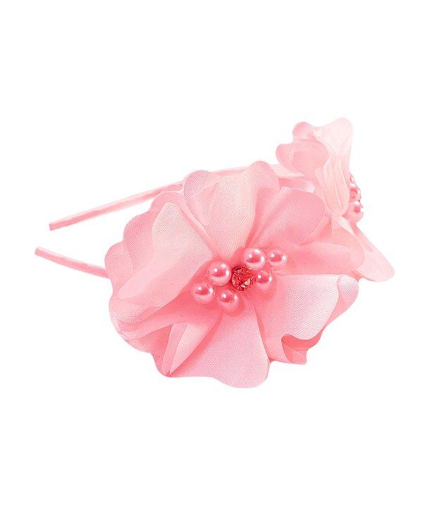 Tiara infantil de flor Rosê