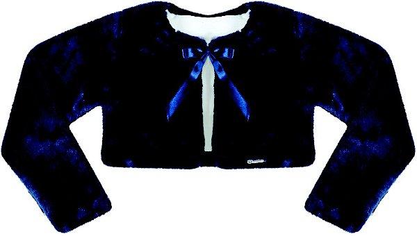 Casaco Juvenil de Pele s/ Gola Azul