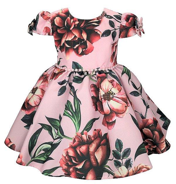 Vestido bebe rosa com estampa de flores