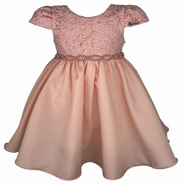 Vestido Bebê Salmão com Renda e Cinto de Pérolas