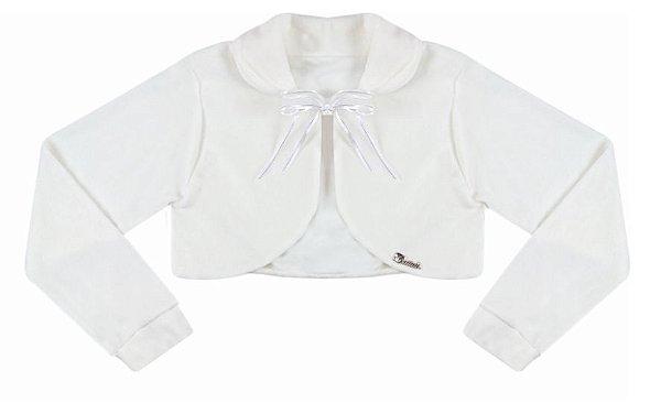 Casaco Juvenil Plush Redondo c/ Gola Branco