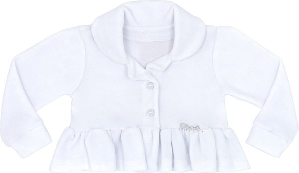 Casaco Bebê Plush com Gola Branco