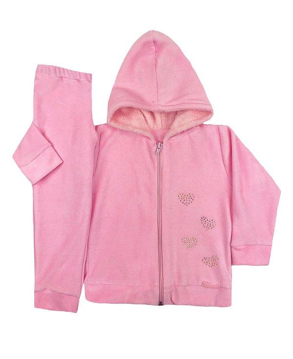 Conjunto Infantil de Plush Rosa Touca de Pelo