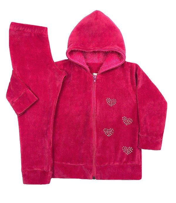 Conjunto Infantil de Plush Pink Touca de Pelo