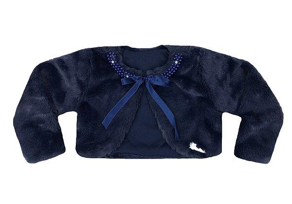 Casaco Infantil de Pele Redonda c/ Bordado Azul