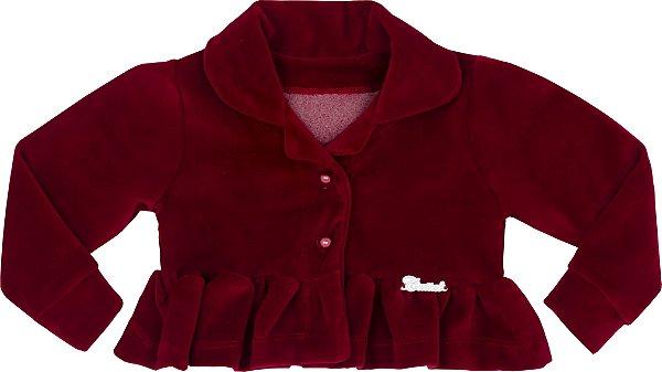 Casaco Bebê Plush vermelho com Gola