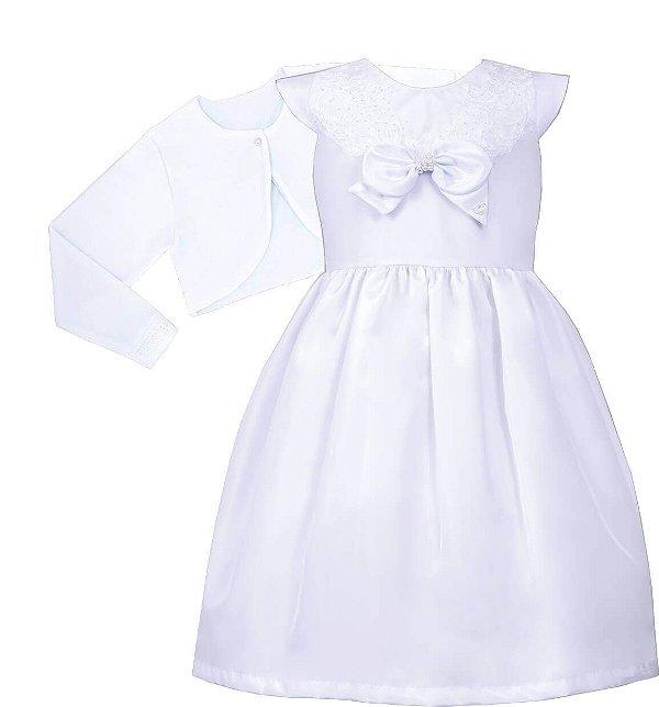 Vestido Juvenil Laço no Peito com bolero de Plush