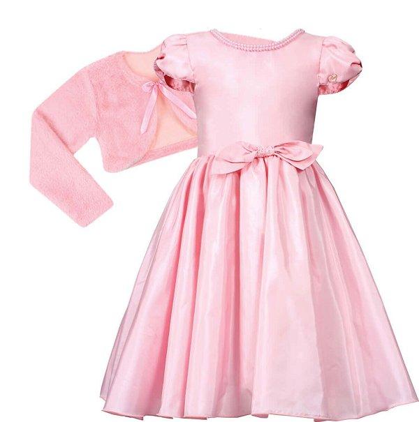Vestido Juvenil Rosa com Gola de Pérolas com bolero de pelo