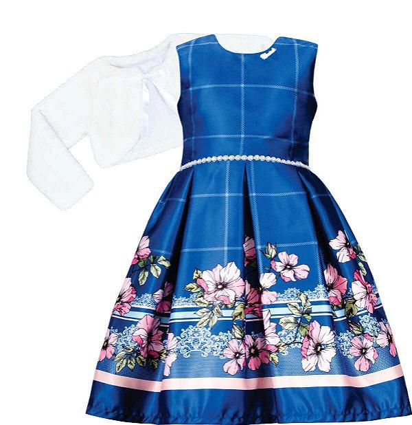 Vestido Juvenil Azul com Barrado de Flores com bolero de pelo