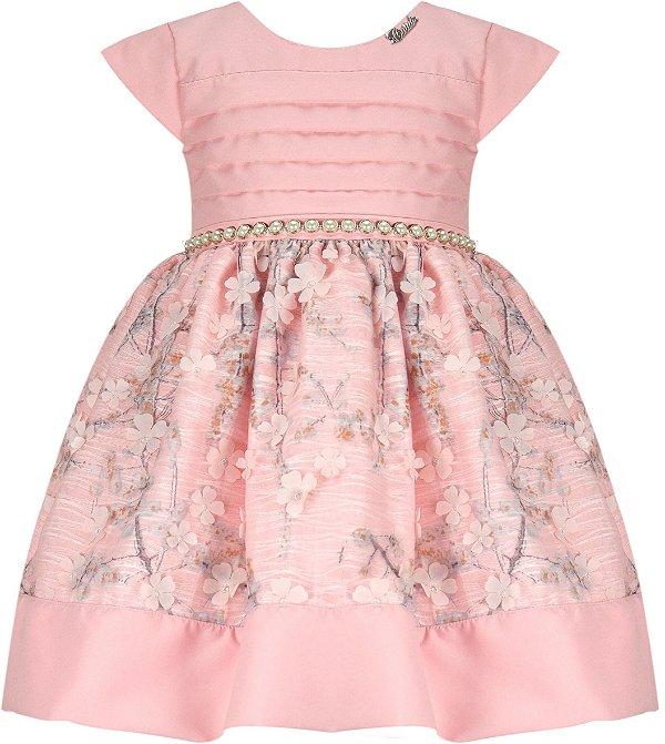 Vestido Infantil Casual Peito de pregas