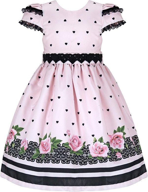 Vestido Infantil Casual c/ Cinto Corações