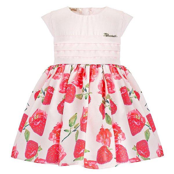 Vestido Infantil Basico Morango