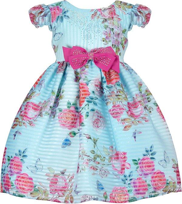 Vestido Infantil Chic Listrado c/ Estampa
