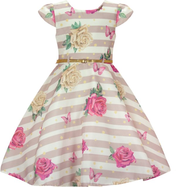 Vestido Infantil Básico com Estampa Listrada