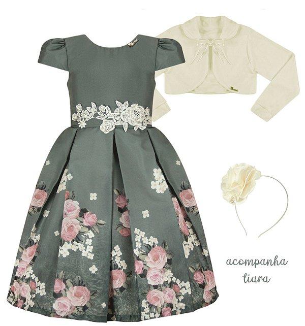 Vestido Infantil Casual de Barrado c/ Guipir no cinto com Casaco de Plush