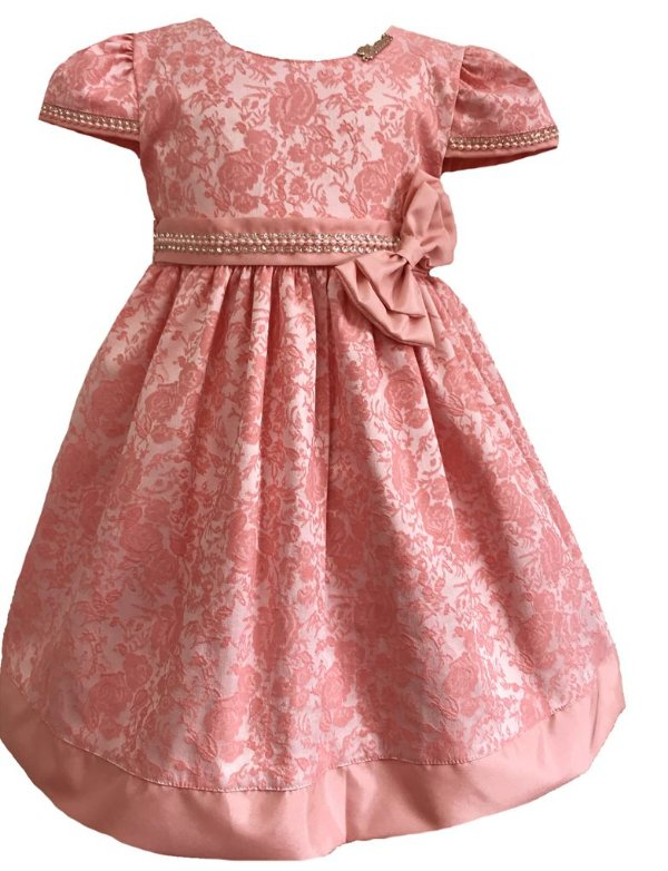 Vestido Infantil Jacquard Flores