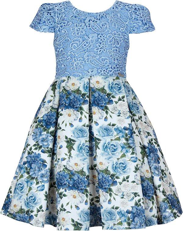 Vestido Infantil Chic c/ Guipir Azul no Peito