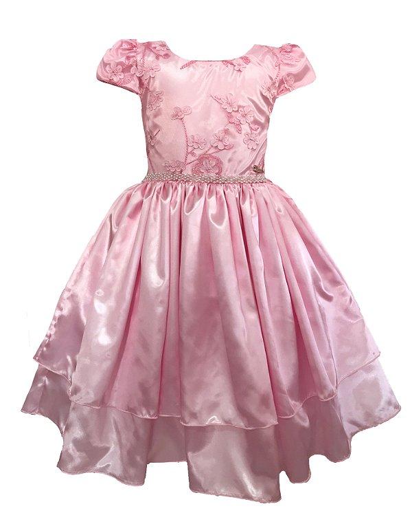 Vestido Infantil c/ Renda no Peito