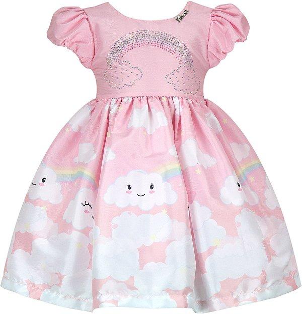 Vestido Infantil Casual Nuvem