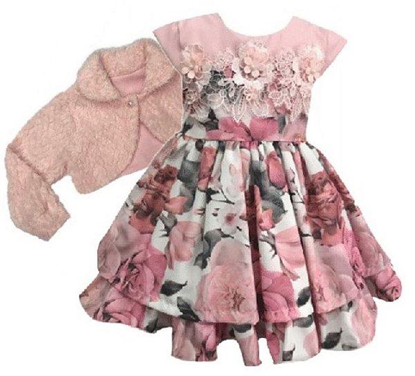 Vestido infantil Estampado Renda e Casaco de Pelo