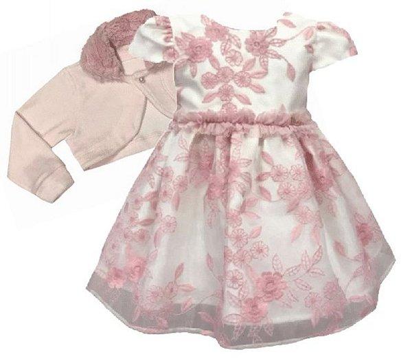 Vestido Infantil c/ Frufru na Cintura com Casaco Gola de Pelo