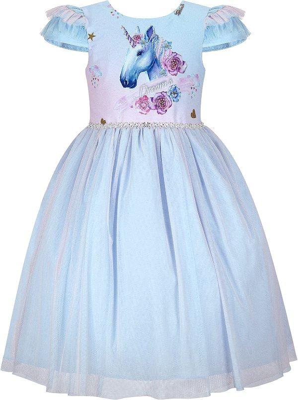 Vestido Infantil Unicórnio.