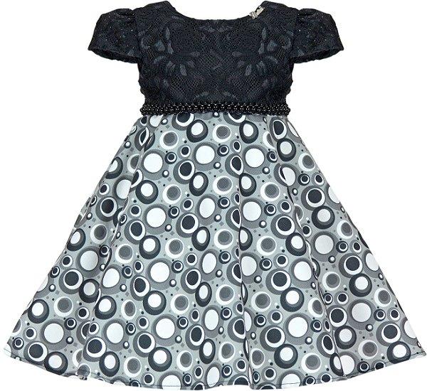 Vestido Infantil Casual Saia Estampa Bola