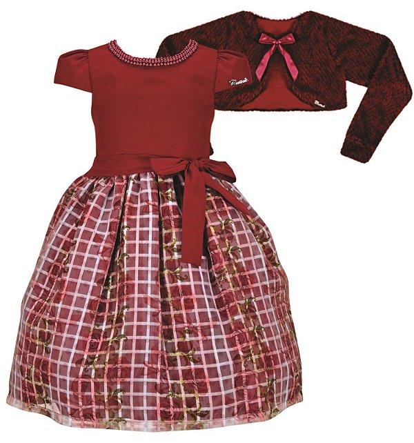 Vestido Infantil Casual Flores/Xadrez com Casaco de Pelo