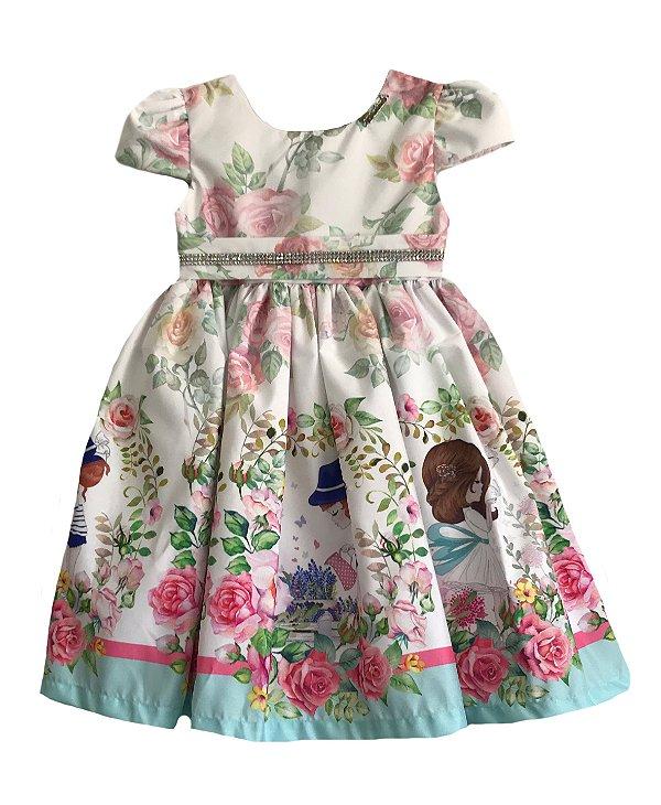 Vestido Infantil Estampado com Barrado