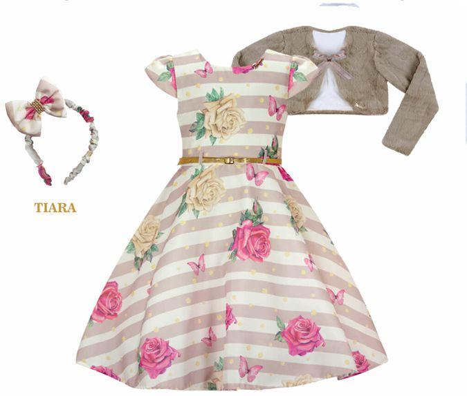 Vestido Infantil Básico c/ Estampa Listrada com Bolero de Pelo
