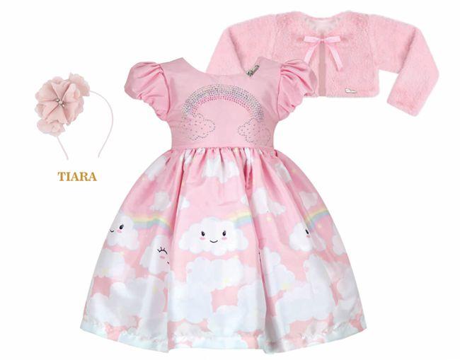 Vestido Infantil Casual Nuvem com Bolero de Pelo
